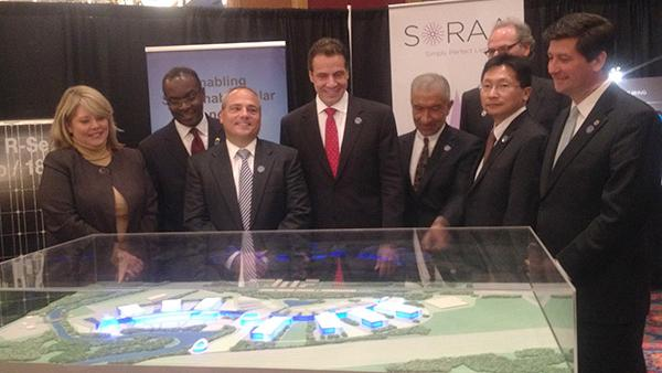 From left, Dottie Gallagher-Cohen, Buffalo Niagara Partnership; Mayor Byron Brown; Tom Caulfield, CEO, Soraa; Gov. Andrew Cuomo; Alain Kaloyeros, SUNY Nanotech College CEO; Zheng Xu, CEO, Silevo; Erie County Executive Mark Poloncarz at last fall's announcement on the Riverbend development in South Buffalo.