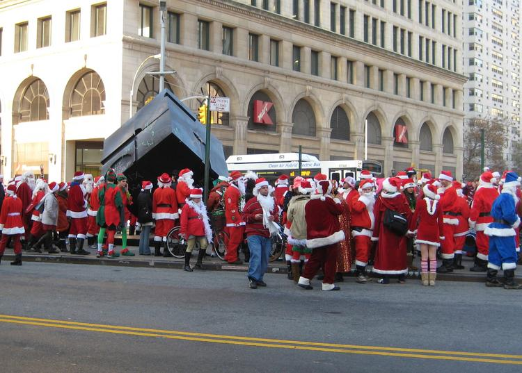 SantaCon participants gather in Astor Place during the 2007 event.