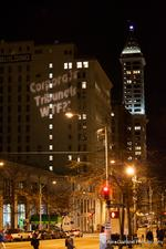 Protesters light up a Seattle building with their message — and it's legal