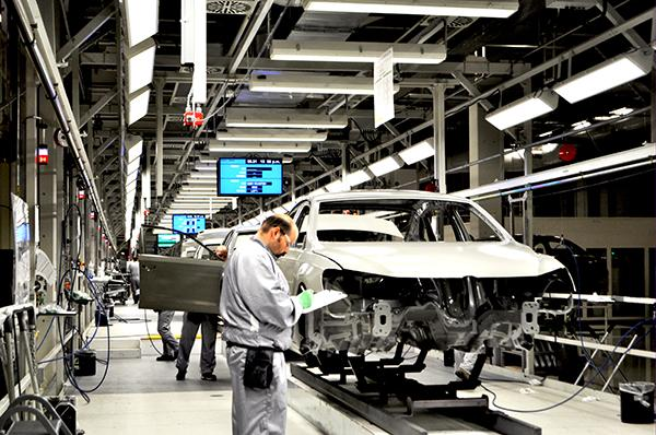 Manufacturing employment, such as at this Volkswagen plant in Tennessee, topped 12 million in November for the first time since April 2009.