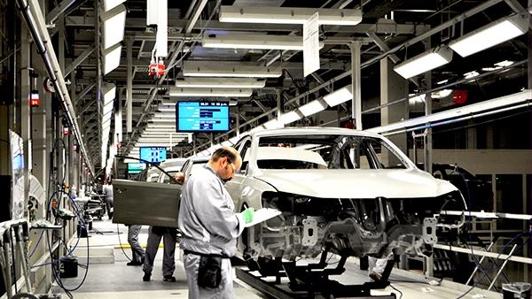 A worker inside Volkswagen's Chattanooga plant.