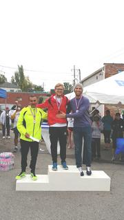 Top Male Overall Finishers, (left to right) Abraham Cervantes (3rd place), Daniel Simpkins (1st place), and Jon Gugala (2nd place).