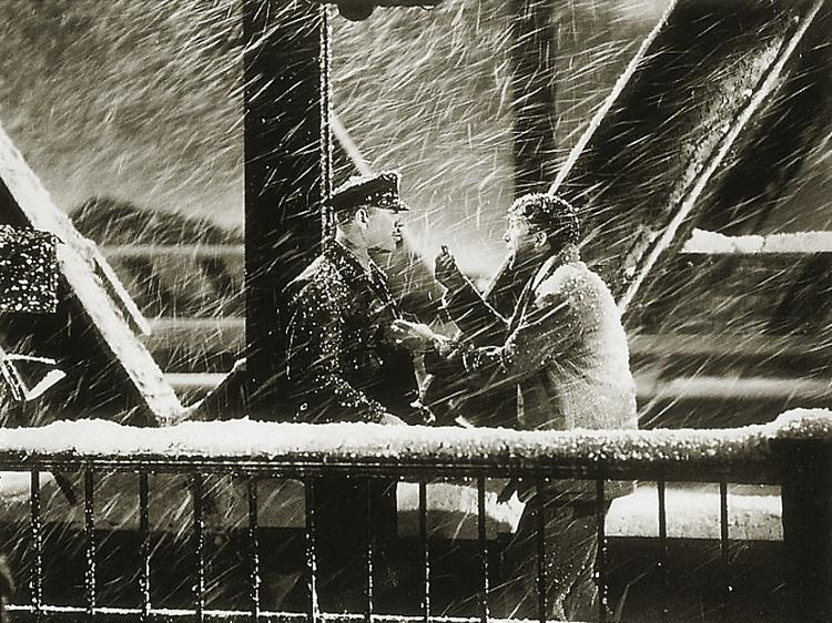 "Jimmy Stewart yells over the roar of the snowstorm in a still from the 1946 classic ""It's a Wonderful Life""."