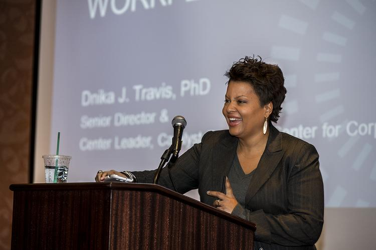 The event featured remarks from Dnika Travis of Cataylst.