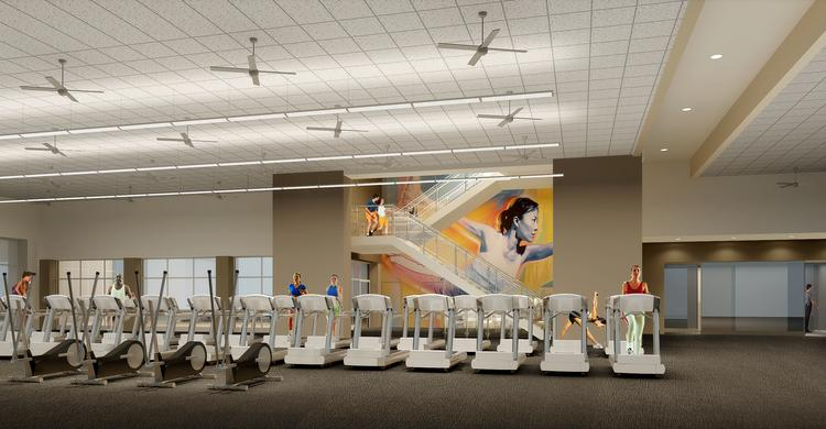 An artist's rendering of the L.A. Fitness opening at Towson Commons.