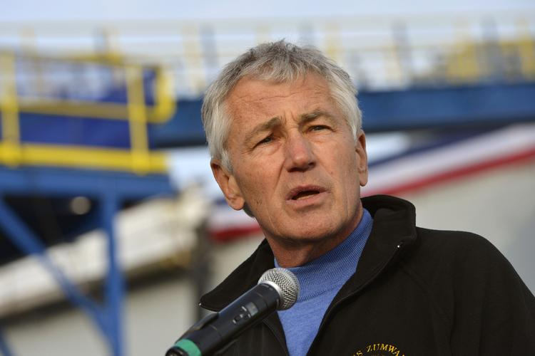 Secretary of Defense Chuck Hagel addresses shipyard workers and sailors after touring the USS Zumwalt, DDG-1000, at Bath Iron Works Nov. 21.The Zumwalt is the first destroyer of a new class of stealthy ships in the Navy's pipeline.