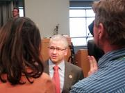 Rep. Patrick McHenry (R-N.C.) answers questions following a congressional hearing on Obamacare. McHenry helped bring the event to Gaston County to showcase how health-care reform has affected North Carolinians.
