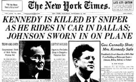 <em>The New York Times</em> front page covering Kennedy's assassination.
