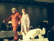 Radio and  TV star Pat McMahon dons his Gerald outfit from his Wallace and Ladmo Show days, as he walks down the Debbie Gaby's Celebrity Catwalk with his wife, Duffy and their dog, Bijou.