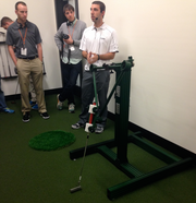 Oven West also has a smaller swing machine that can be used to test how golf balls respond to pitching wedges and putters.