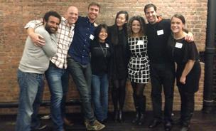 Members of Levo League and Dev Bootcamp staff and alumni (Dev Bootcamp founder Shereef Bishay is far left) pose at a gathering to announce their new partnership.