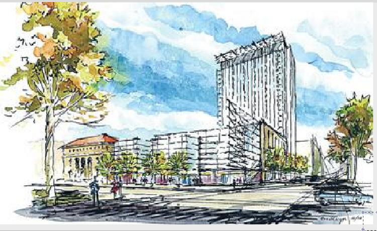 Rendering of the proposed Georgia Tech project. Cushman & Wakfield is project manager.