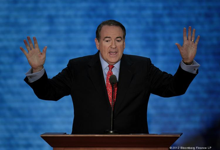 Mike Huckabee, former governor of Arkansas, speaks at the Republican National Convention in Tampa, Fla., on Wednesday, Aug. 29, 2012.