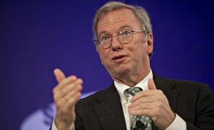 Eric Schmidt, yesterday posted some subtle trash talk of his competition to his Google Plus pages. In this photo, the executive chairman at Google Inc., speaks at the Bloomberg Year Ahead: 2014 conference in Chicago, Illinois, on Thursday, November 21, 2013.