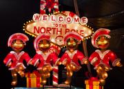 The Welcome to the North Pole room is inspired by Las Vegas. It is full of luminaries including the Gingerbread Rockettes.