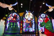 The nativity room includes heralding angels, Jesus, Mary and Joseph, and stained-glass-window luminaries.