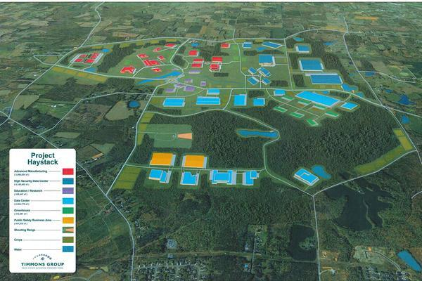 A feasibility study for Project Haystack predicts that a 2,000-acre multijurisdictional industrial park, incorporating Guilford County's prison farm site and another 1,200 acres that would be acquired, would generate an estimated $6.5 billion in private investment over two decades.