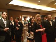 Business leaders crowd into the VIP reception room before the Houston Hispanic Chamber of Commerce's annual luncheon.