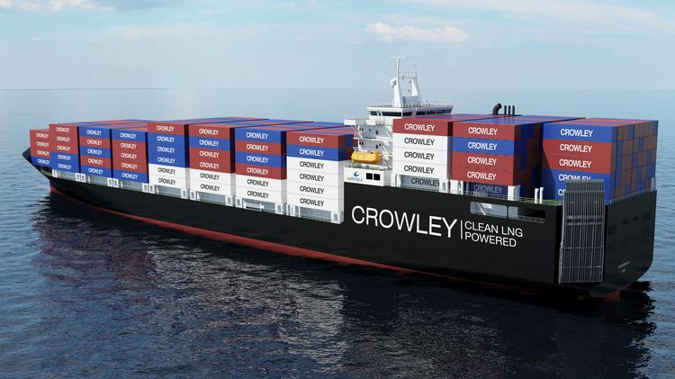 A rendering of Crowley's new LNG-powered combination container and Roll On/Roll Off ship.
