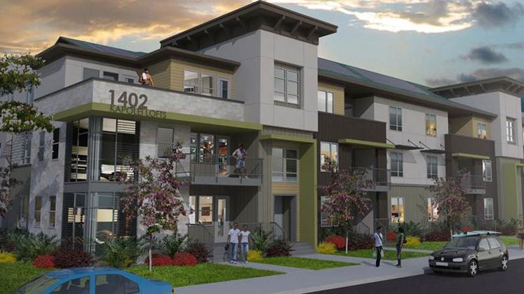 This rendering shows a 499-unit mixed-use Kapolei Lofts rental project that Forest City Hawaii is planning to build in West Oahu.