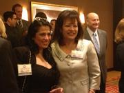 Angelica Garcia-Dunn, left, president and CEO of Aim Global Logistics LLC and a board member of the Houston Hispanic Chamber of Commerce, shares a moment with the chamber's immediate past-chairwoman, Irma Diaz-Gonzalez, president and CEO of Employment & Training Centers Inc., in the VIP reception before the group's annual luncheon.