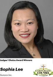 NOMINATOR COMMENTS: As Chief Counsel in Litigation as Sunoco, Inc., Sophia is responsible for managing the company's portfolio of nationwide litigations, including commercial, environmental, personal injury, toxic tort and products liability matters. She is also Litigation Committee Co-Chair for the National Asian Pacific American Bar Association.