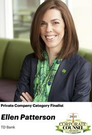 NOMINATOR COMMENTS: She was a key legal advisor to the bank as it built its U.S. presence through the acquisitions of Banknorth, Commerce, Riverside, The South Financial Group, Chrysler Financial and TD's investment in TD Ameritrade.