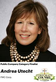NOMINATOR COMMENTS: Since 2001, Andrea has left the law department of 10+ lawyers through a series of acquisitions and divestitures and the transition from a long-time CEO to a new CEO while the company evolved from a commodity chemical company to one that now focuses on specialty and industrial chemicals.