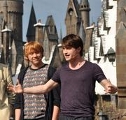 Rupert Grint (aka Ron Weasley) and Daniel Radcliffe (aka Harry Potter) were on hand for the grand opening of The Wizarding World of Harry Potter in 2010.