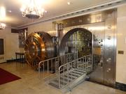 The safety deposit vault on the lower level of the former Riggs National Bank headquarters. To the left of the main vault door is a small escape hatch, in case someone is trapped inside.