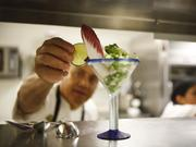 Chef Hugo Ortega prepares a ceviche using red snapper from the gulf at Hugo's restaurant in Houston.