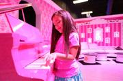 The life-size Barbie Dreamhouse has a pink piano - and pink everywhere else.