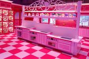 The kitchen of the Barbie Dreamhouse exhibit in Berlin, Germany.