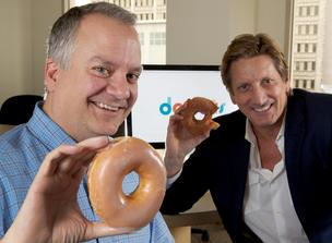 DOUGH-MAIN: Donuts Inc. co-founders Paul Stahura (left) and Richard Tindal named the Bellevue company as a play on the business of domain name services or DNS — DoNutS.