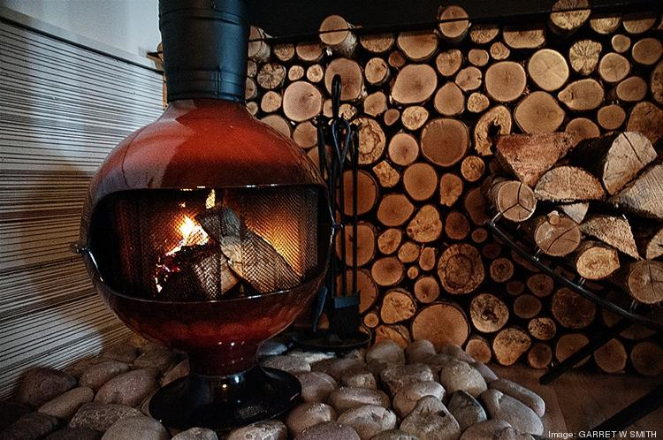A retro modern fireplace keeps things warm at Roundhouse.