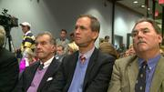Braves execs John Schuerholz, Derek Schiller and Mike Plant, had moments of concern during the decision to vote for funding the Braves stadium.