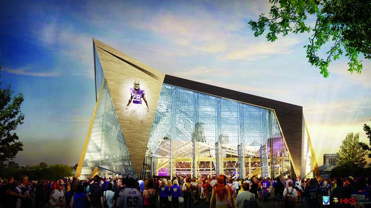 The new Minnesota Vikings stadium is scheduled to be completed in time for the 2016 football season. View renderings and scale mock-ups of the stadium's suites, clubs and amenities in this photo gallery.