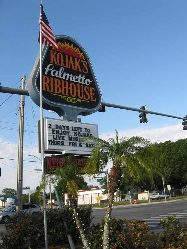 Kojak's Palmetto Ribhouse, a sister restaurant to Kojak's on Gandy Boulevard in South Tampa, closed last weekend after 10 years.