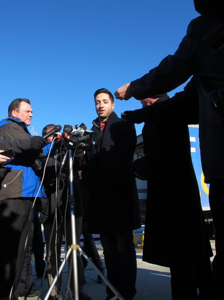 Brewers outfielder Ryan Braun speaks to the media outside of Miller Park Wednesday.