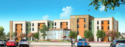 An early rendering of the back of the proposed Home2 Suites hotel in Eagan based on Hilton's design standards.