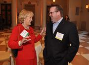 Honoree Mary Jane Saunders of FAU and past honoree John Duffy of 3Cinteractive,