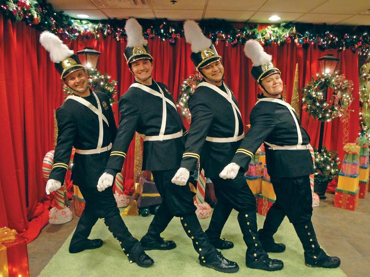 The Galt House features dancing bellmen during the holidays.