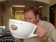 PR mainstay John Heitkemper really delivered when I asked him for shots we could use for a gallery on Bridgetown Coffee's continued foray into operating sustainably. This pic of Kirk Jensen enjoying a Shaquille O'Neal-worthy cuppa java still amuses me.