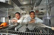 """""""What people want is amazing food that's delivered hot,"""" says Gagan Biyani, right, with his Sprig co-founder Nate Keller."""