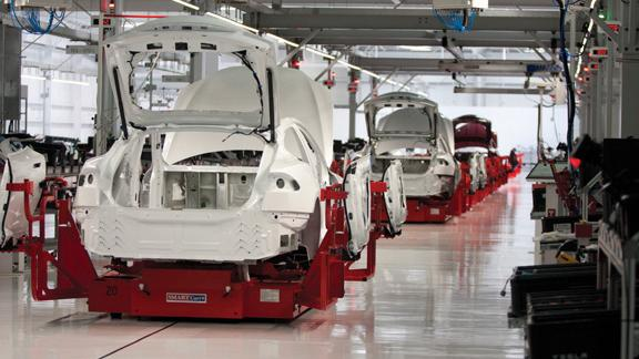 A production line in Tesla's Fremont plant, where many of the 6,000 people the company employs work.