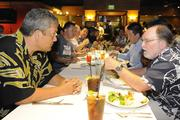 Big Island Mayor Billy Kenoi, left, and Hawaii Gov. Neil Abercrombie at the Downtown Athletic Club's lunch at Hukilau Honolulu featuring Maui native Shane Victorino of the World Series Champions Boston Red Sox.