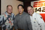 Don Murphy of Murphy's Bar and Grill, Kurt Osaki of Saki Creative Group and J.J. Niebuhr of J.J.Dolan's at a lunch featuring Maui native Shane Victorino of the World Series Champions Boston Red Sox.