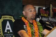 Shane Victorino spoke at the the Downtown Athletic Club's lunch Wednesday at the Hukilau Honolulu restaurant.