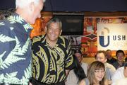Big Island Mayor Billy Kenoi at the Downtown Athletic Club's lunch at Hukilau Honolulu featuring Maui native Shane Victorino of the World Series Champions Boston Red Sox.