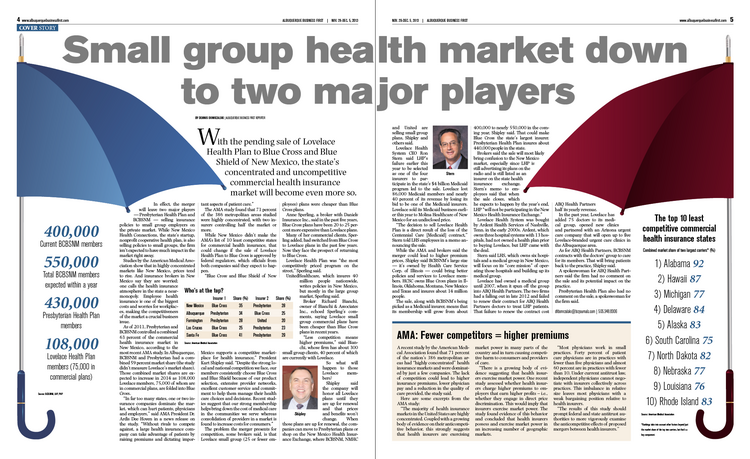 There wasn't a lot of competition in New Mexico's small group health insurance market to start with. Now Blue Cross and Blue Shield of New Mexico is buying Lovelace Health Plan, leaving two major players in the small group market — Blue Cross and Presbyterian Health Plan. Studies say where consolidation happens, higher premiums follow. Dennis Domrzalski explains what it all means for employers who just want to offer decent health insurance without breaking the bank.